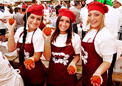 waitresses holding food in Europe