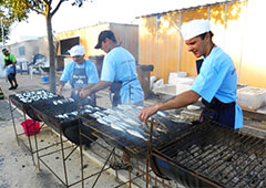 barbecues at a food festival in Europe