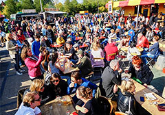 people at a food festival in Europe