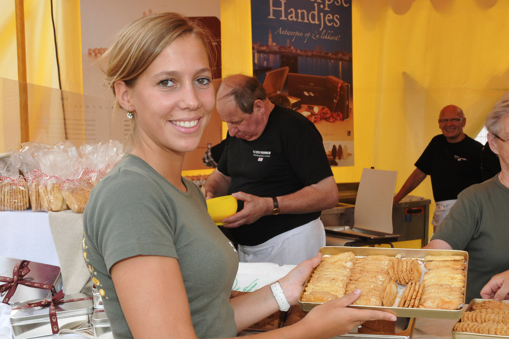 waitress holding food in Europe