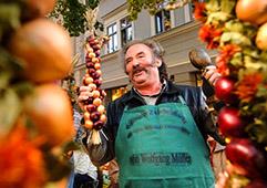 man selling food in Europe