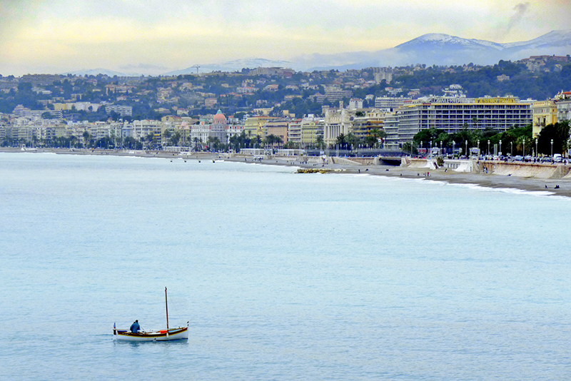 a man in a boat near Nice on the French Riviera