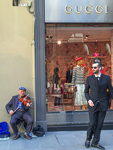 outside a Gucci shop in Florence