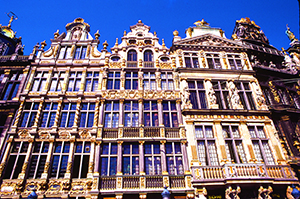 ornate building facades in Belgium