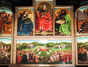 a colroful polyptych in Belgium