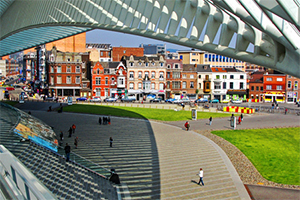 modern architecture near old buildings in Belgium