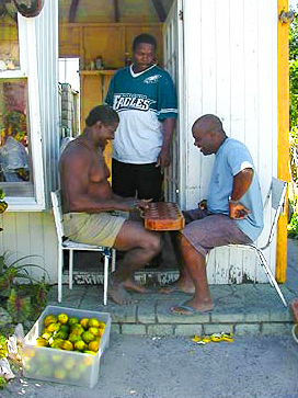 men playing checkers on a Caribbean island