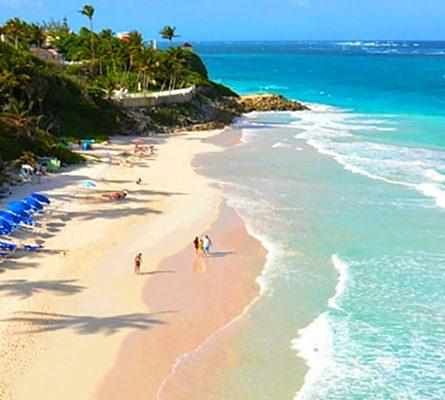people walking on a Caribbean beach