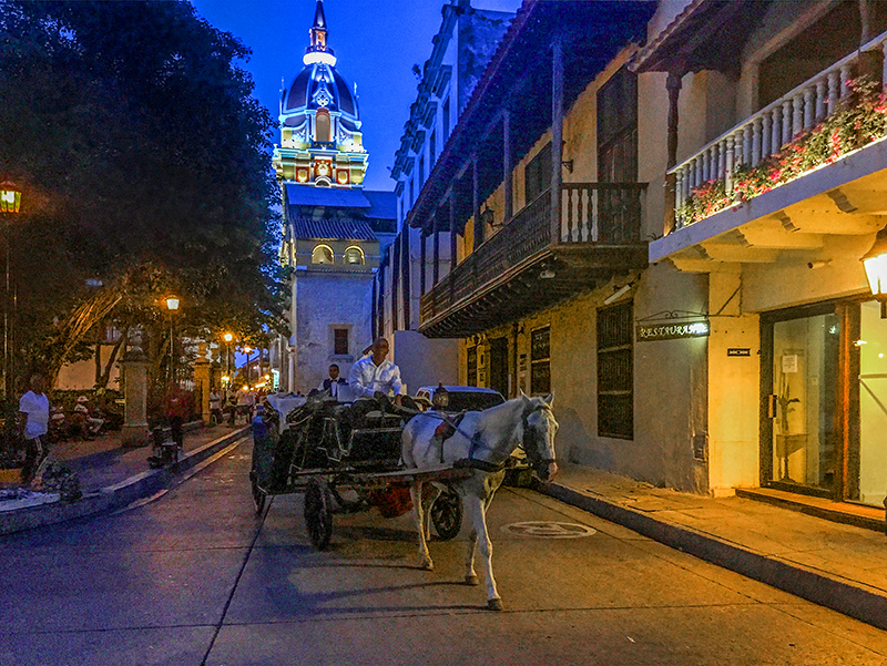a horsedrawn carriage in Cartagena