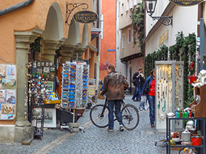 man with a bicycle in Bavaria