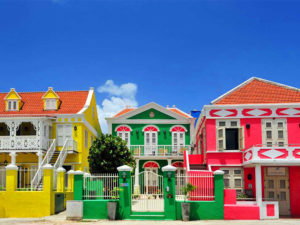 brightly colored houses in the Caribbean
