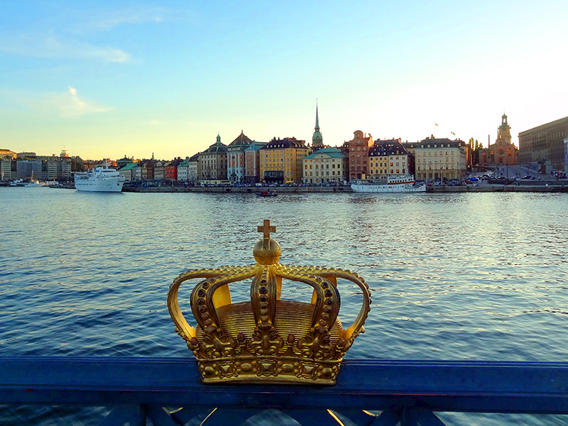 view across a harbor in Sweden