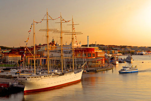 a tall ship in a harbor in Sweden