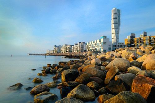 modern building along a rocky shore in Sweden