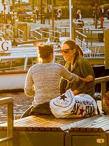 two womenon a dock in Sweden