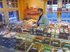 a chocolate shop in Bruges