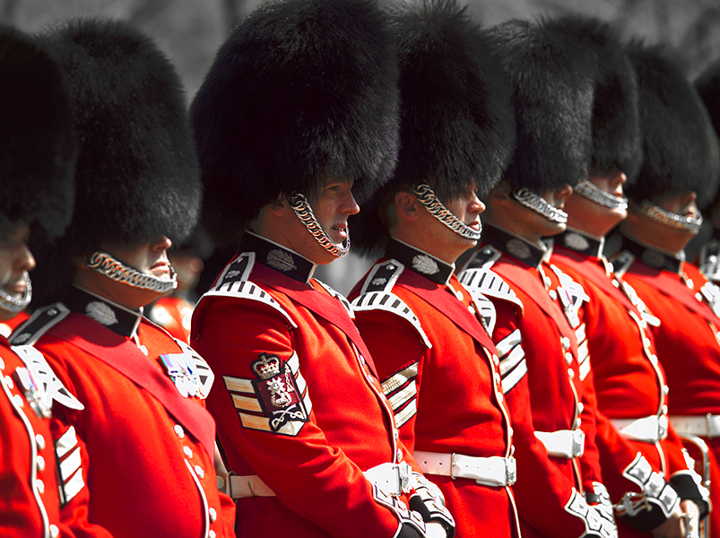 British soldiers in red uniform in England