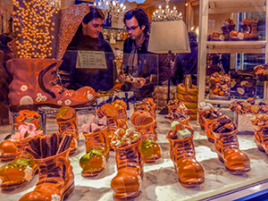 Chocolate shoes for sale in Bruges