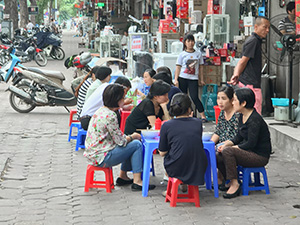 people at a cafe in Hanoi