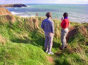 healthy travelers looking at ocean