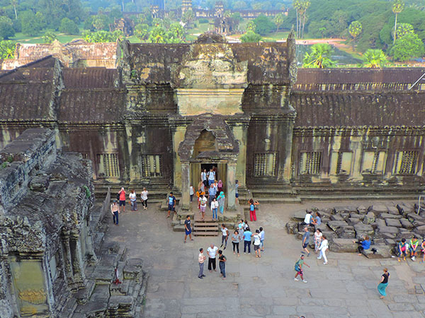 people at an old temple in Angkor Wat, Cambodia