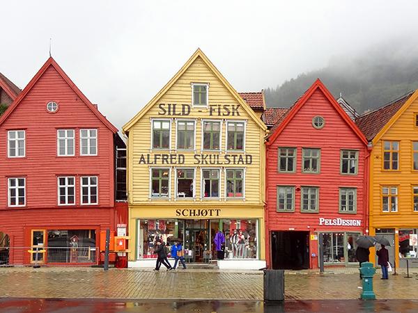 colorful old bildings in norway in Scandinavia