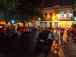 a town square at night - best places to travel