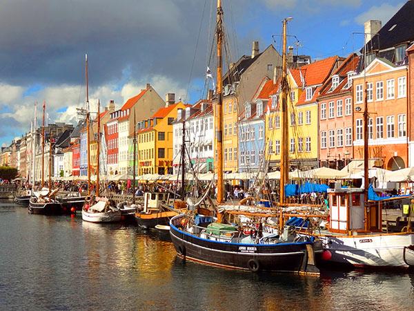 boats in a harbor in Copenhagen, Denmark in Scandinavia