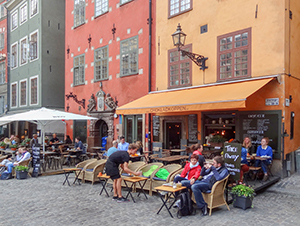 people at a cafe in Scandinavia