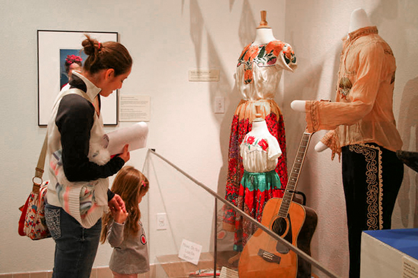 woman and child in museum on the Chisholm Trail in Texas