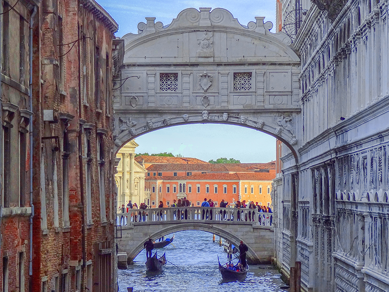 two bridges across a canal in Venice, Italy
