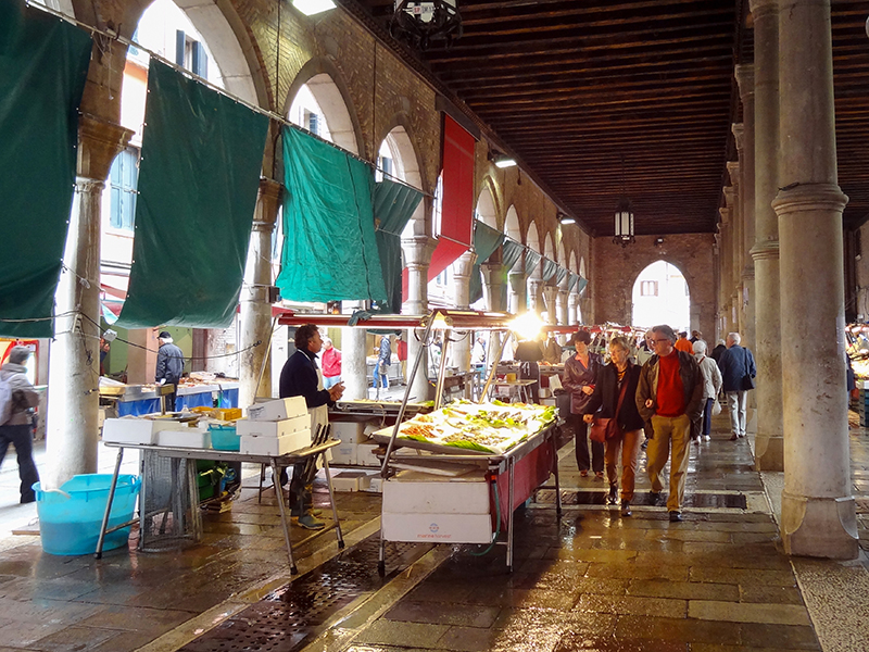 a fish market in Venice, Italy