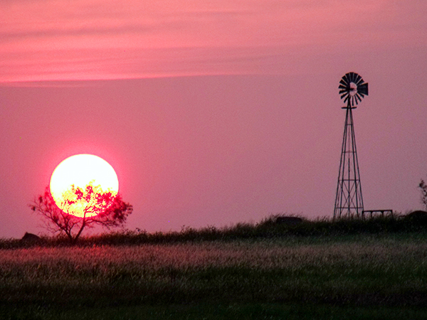sunset at a farm on the Chisholm Trail in Texas