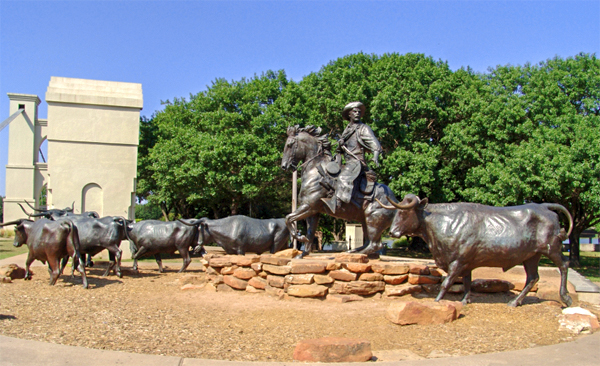 statues of a cowboy on the Chisholm Trail in Texas