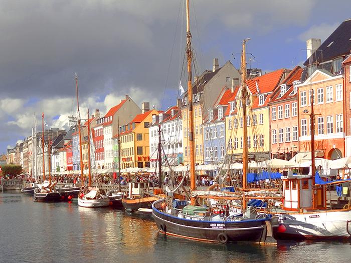 boats in a harbor in Copenhagen, Denmark