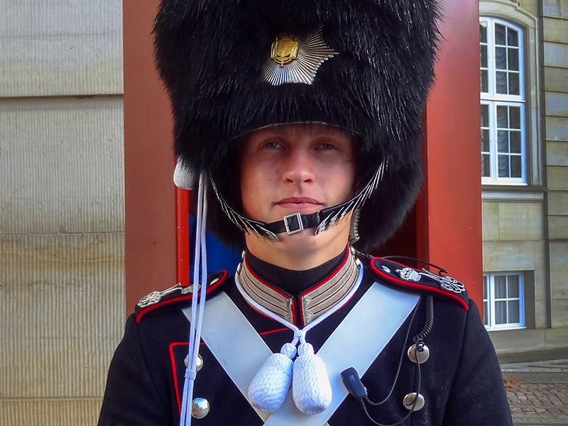 a guard at the palace in Copenhagen, Denmark