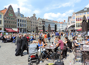 people at cafes in Ghent, Belgium