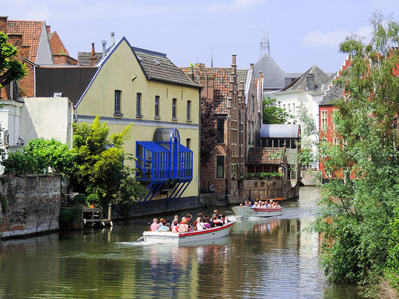 tour boast on a river in Ghent, Belgium