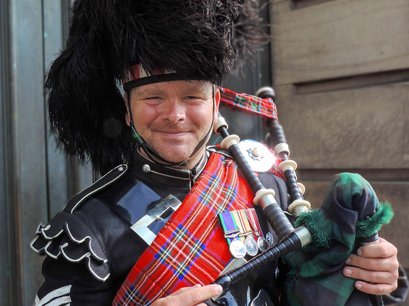 a piper in Edinburgh, Scotland