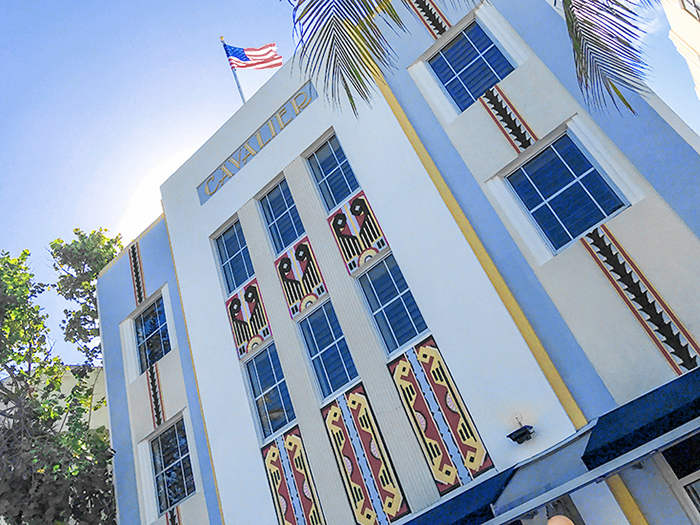 an art deco facade on a building in South Beach Miami