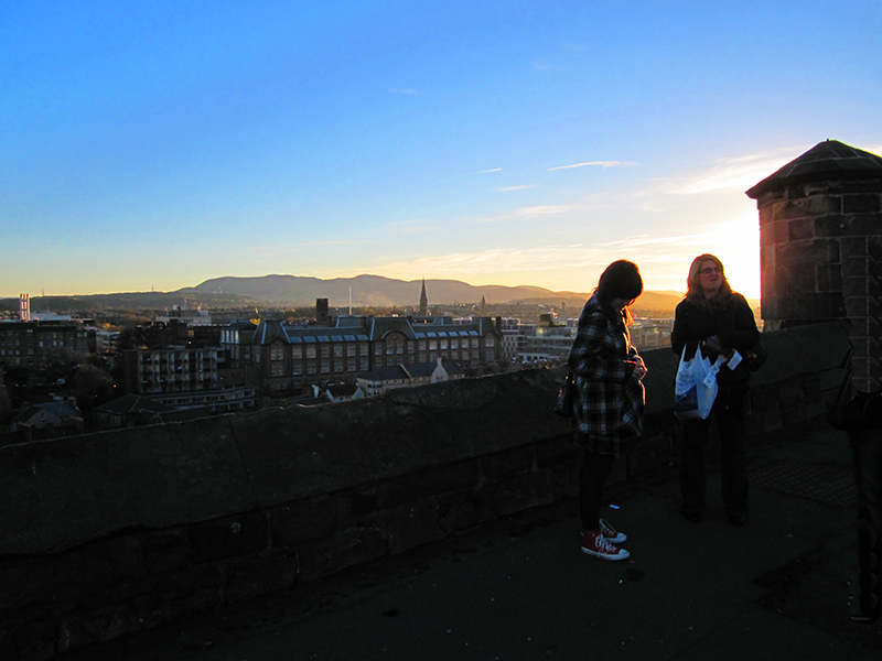 people watching the sunset in Edinburgh, Scotland
