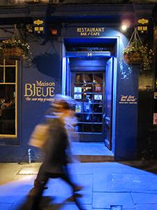 a blue painted restaurant in Edinburgh, Scotland