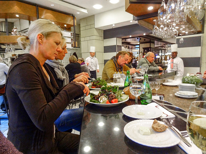 woman at a acounter in a food hall