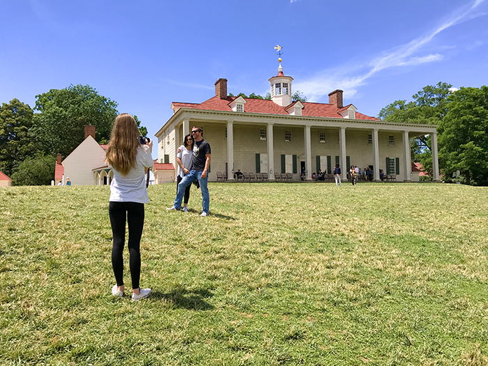 people on a lawn in front of a house in Washington