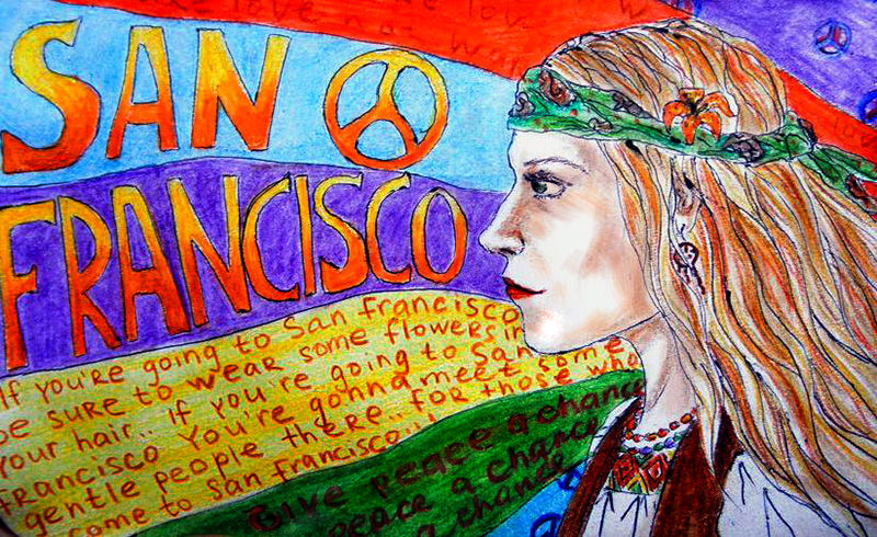 A painting of a hippie in San Francisco