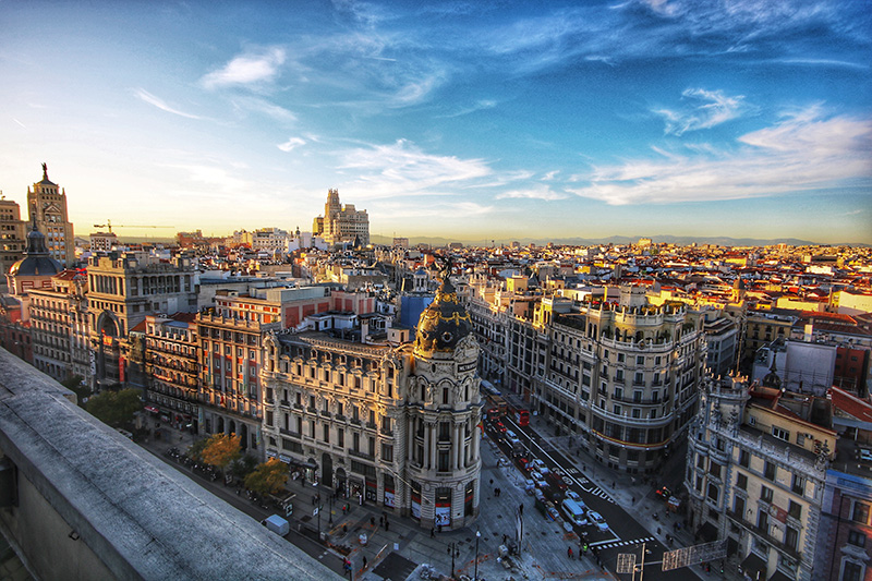 sunset over downtown Madrid, one of the places to visit in the city