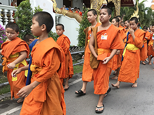 monks walking in Chiang Mai