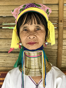woman with brass rings around neck Chiang Mai