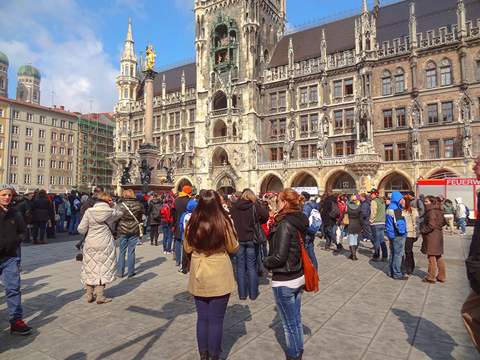 people in a city square in Bavaria