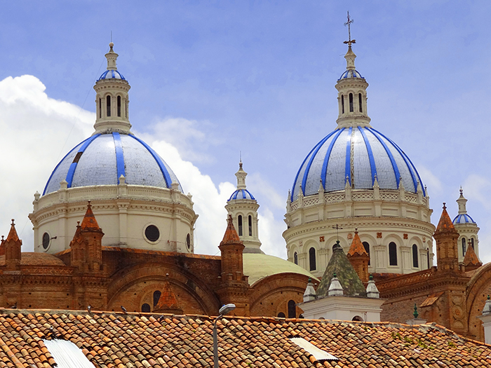 domes of a cathedralinside a church in Cuenca, Ecuador